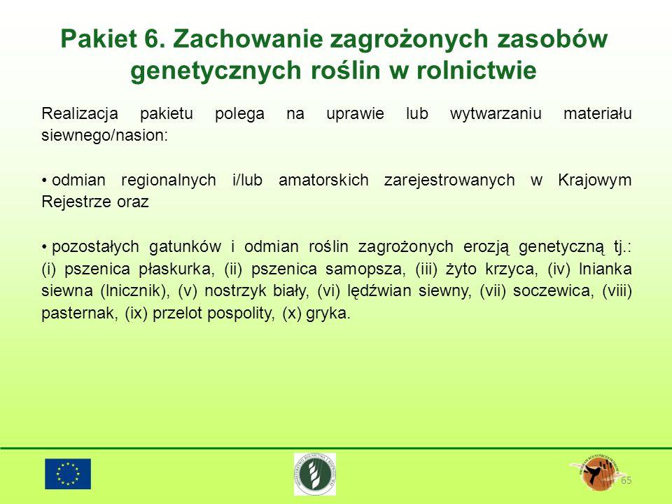 Pakiet 6. Zachowanie zagrożonych zasobów genetycznych roślin w rolnictwie 65 Realizacja pakietu polega na uprawie lub wytwarzaniu materiału siewnego/n