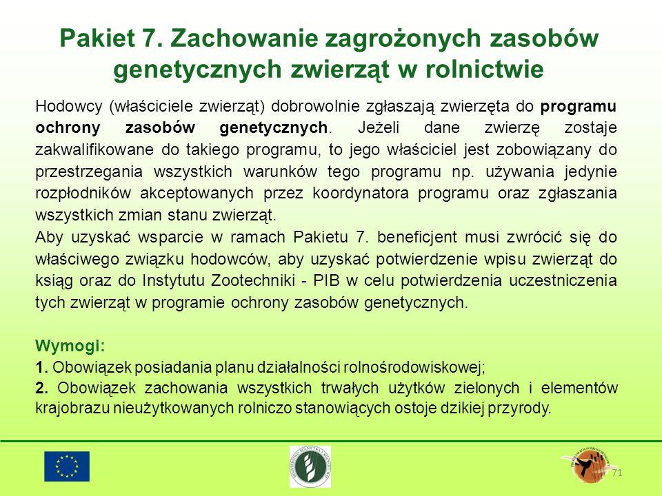 Pakiet 7. Zachowanie zagrożonych zasobów genetycznych zwierząt w rolnictwie 71 Hodowcy (właściciele zwierząt) dobrowolnie zgłaszają zwierzęta do progr