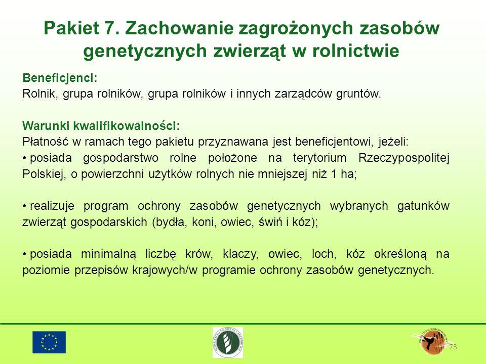 Pakiet 7. Zachowanie zagrożonych zasobów genetycznych zwierząt w rolnictwie 73 Beneficjenci: Rolnik, grupa rolników, grupa rolników i innych zarządców