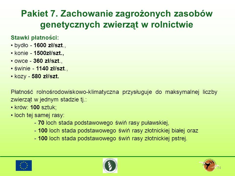 Pakiet 7. Zachowanie zagrożonych zasobów genetycznych zwierząt w rolnictwie 74 Stawki płatności: bydło - 1600 zł/szt., konie - 1500zł/szt., owce - 360