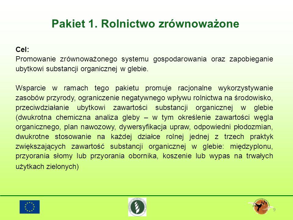Pakiet 1. Rolnictwo zrównoważone 9 Cel: Promowanie zrównoważonego systemu gospodarowania oraz zapobieganie ubytkowi substancji organicznej w glebie. W