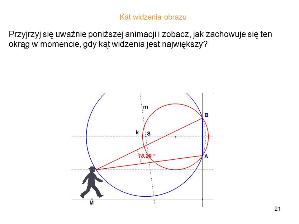 21 Przyjrzyj się uważnie poniższej animacji i zobacz, jak zachowuje się ten okrąg w momencie, gdy kąt widzenia jest największy.