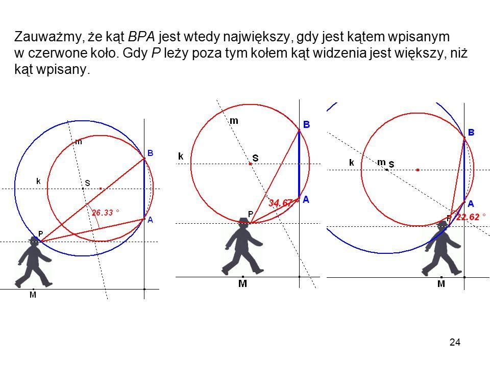 24 Zauważmy, że kąt BPA jest wtedy największy, gdy jest kątem wpisanym w czerwone koło.