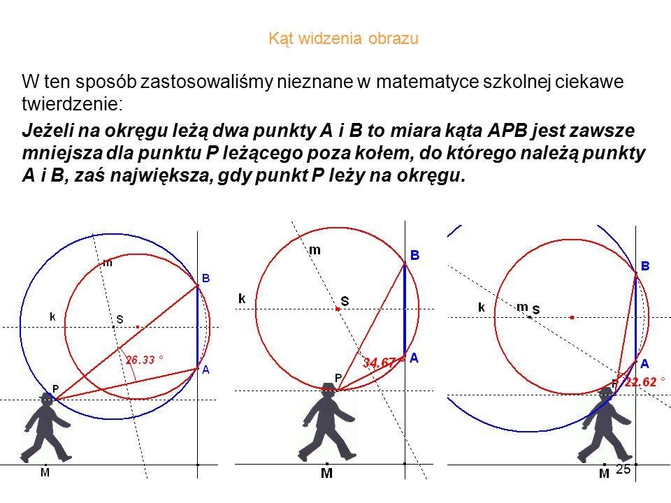 25 W ten sposób zastosowaliśmy nieznane w matematyce szkolnej ciekawe twierdzenie: Jeżeli na okręgu leżą dwa punkty A i B to miara kąta APB jest zawsze mniejsza dla punktu P leżącego poza kołem, do którego należą punkty A i B, zaś największa, gdy punkt P leży na okręgu.