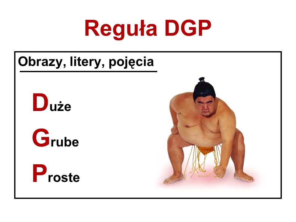 Reguła DGP Obrazy, litery, pojęcia D uże G rube P roste