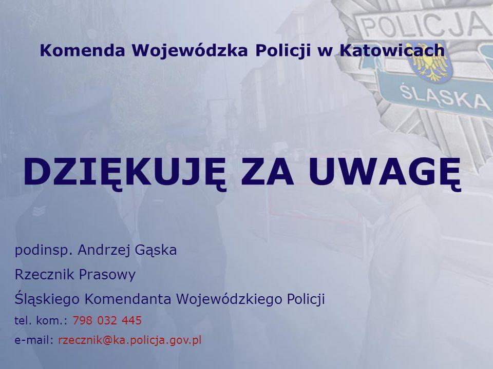Komenda Wojewódzka Policji w Katowicach DZIĘKUJĘ ZA UWAGĘ podinsp. Andrzej Gąska Rzecznik Prasowy Śląskiego Komendanta Wojewódzkiego Policji tel. kom.
