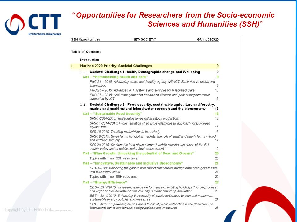 """Opportunities for Researchers from the Socio-economic Sciences and Humanities (SSH)"""
