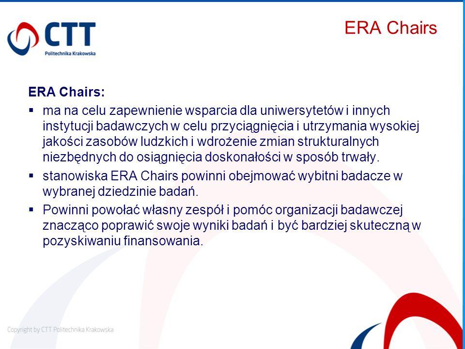 ERA Chairs ERA Chairs:  ma na celu zapewnienie wsparcia dla uniwersytetów i innych instytucji badawczych w celu przyciągnięcia i utrzymania wysokiej jakości zasobów ludzkich i wdrożenie zmian strukturalnych niezbędnych do osiągnięcia doskonałości w sposób trwały.