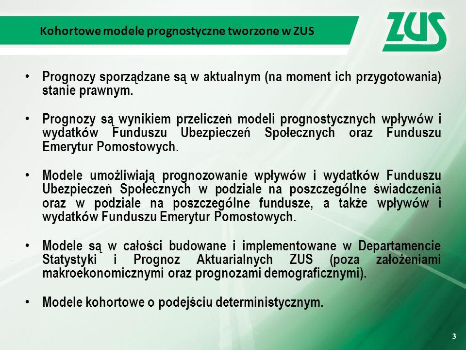 3 3 Kohortowe modele prognostyczne tworzone w ZUS Prognozy sporządzane są w aktualnym (na moment ich przygotowania) stanie prawnym.