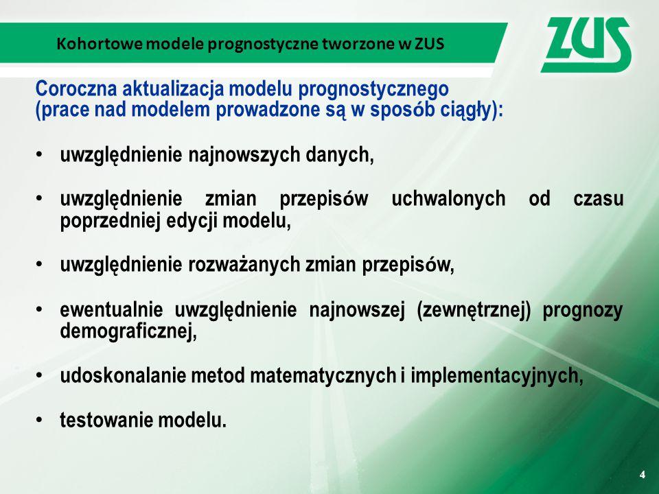 4 4 Kohortowe modele prognostyczne tworzone w ZUS Coroczna aktualizacja modelu prognostycznego (prace nad modelem prowadzone są w spos ó b ciągły): uwzględnienie najnowszych danych, uwzględnienie zmian przepis ó w uchwalonych od czasu poprzedniej edycji modelu, uwzględnienie rozważanych zmian przepis ó w, ewentualnie uwzględnienie najnowszej (zewnętrznej) prognozy demograficznej, udoskonalanie metod matematycznych i implementacyjnych, testowanie modelu.