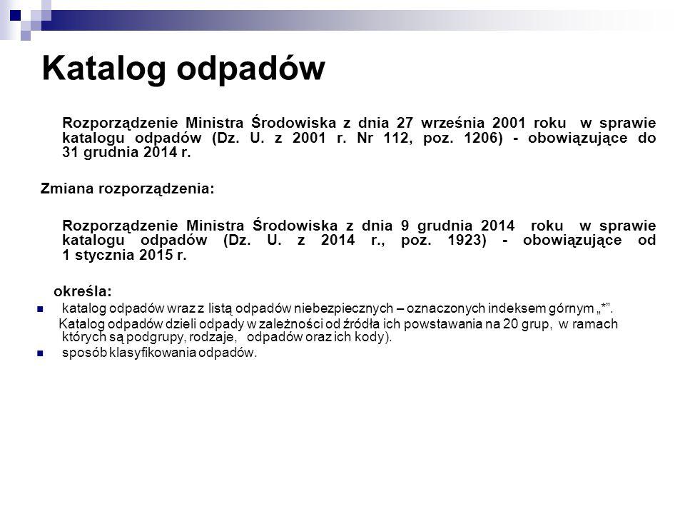 Katalog odpadów Rozporządzenie Ministra Środowiska z dnia 27 września 2001 roku w sprawie katalogu odpadów (Dz.