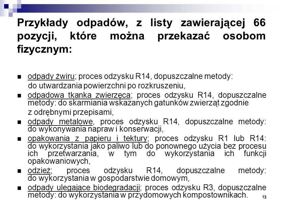 Przykłady odpadów, z listy zawierającej 66 pozycji, które można przekazać osobom fizycznym: odpady żwiru; proces odzysku R14, dopuszczalne metody: do utwardzania powierzchni po rozkruszeniu, odpadowa tkanka zwierzęca; proces odzysku R14, dopuszczalne metody: do skarmiania wskazanych gatunków zwierząt zgodnie z odrębnymi przepisami, odpady metalowe, proces odzysku R14, dopuszczalne metody: do wykonywania napraw i konserwacji, opakowania z papieru i tektury; proces odzysku R1 lub R14: do wykorzystania jako paliwo lub do ponownego użycia bez procesu ich przetwarzania, w tym do wykorzystania ich funkcji opakowaniowych, odzież; proces odzysku R14, dopuszczalne metody: do wykorzystania w gospodarstwie domowym, odpady ulegające biodegradacji; proces odzysku R3, dopuszczalne metody: do wykorzystania w przydomowych kompostownikach.