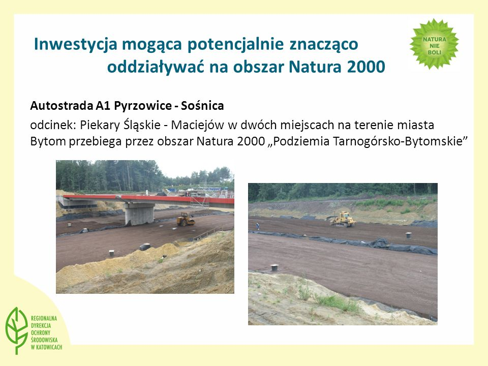 """Inwestycja mogąca potencjalnie znacząco oddziaływać na obszar Natura 2000 Autostrada A1 Pyrzowice - Sośnica odcinek: Piekary Śląskie - Maciejów w dwóch miejscach na terenie miasta Bytom przebiega przez obszar Natura 2000 """"Podziemia Tarnogórsko-Bytomskie"""