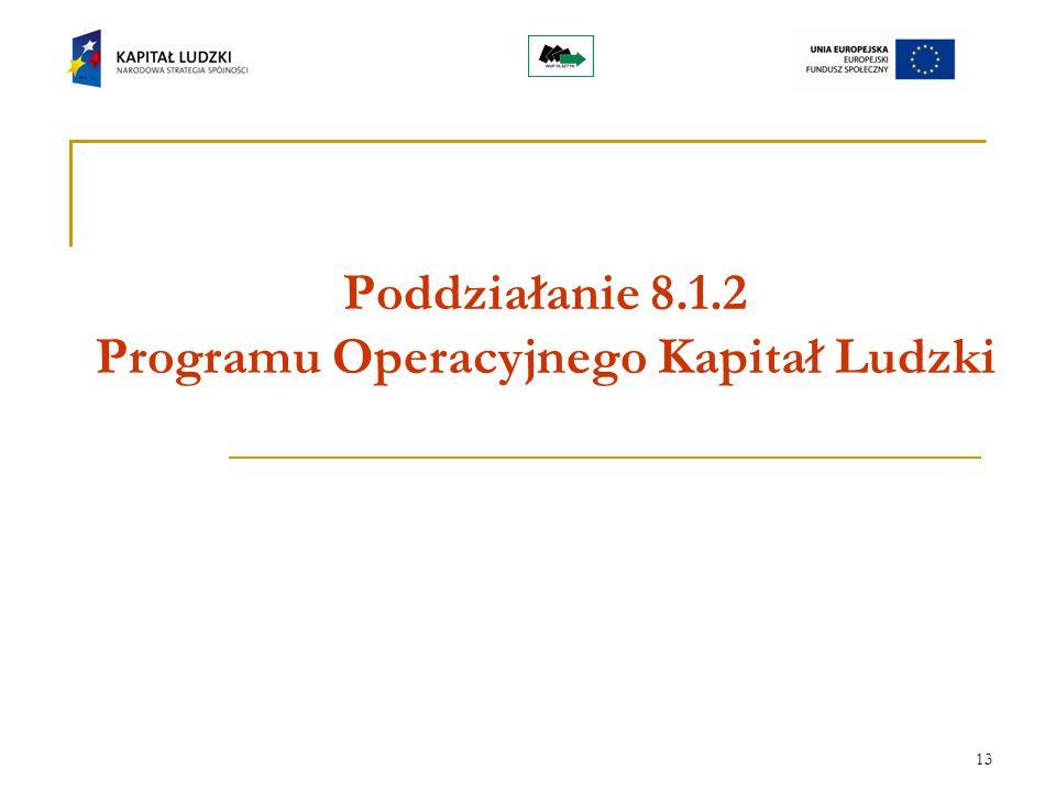13 Poddziałanie 8.1.2 Programu Operacyjnego Kapitał Ludzki