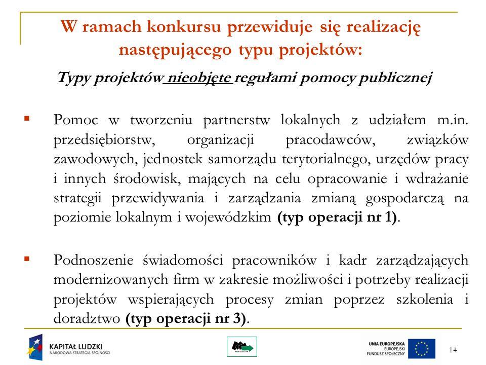 14 W ramach konkursu przewiduje się realizację następującego typu projektów: Typy projektów nieobjęte regułami pomocy publicznej  Pomoc w tworzeniu partnerstw lokalnych z udziałem m.in.