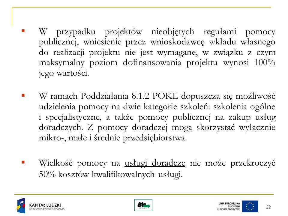 22  W przypadku projektów nieobjętych regułami pomocy publicznej, wniesienie przez wnioskodawcę wkładu własnego do realizacji projektu nie jest wymag