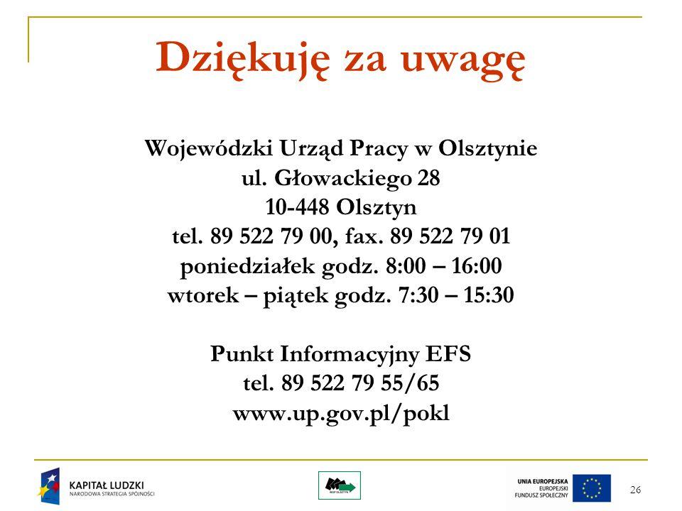 26 Dziękuję za uwagę Wojewódzki Urząd Pracy w Olsztynie ul. Głowackiego 28 10-448 Olsztyn tel. 89 522 79 00, fax. 89 522 79 01 poniedziałek godz. 8:00