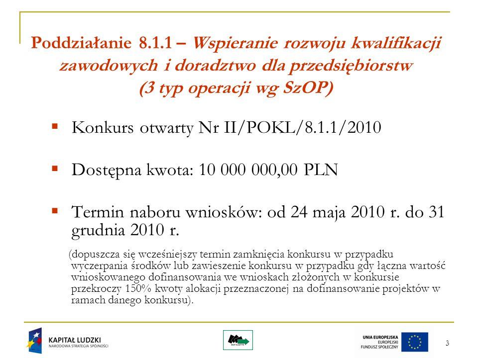 3 Poddziałanie 8.1.1 – Wspieranie rozwoju kwalifikacji zawodowych i doradztwo dla przedsiębiorstw (3 typ operacji wg SzOP)  Konkurs otwarty Nr II/POKL/8.1.1/2010  Dostępna kwota: 10 000 000,00 PLN  Termin naboru wniosków: od 24 maja 2010 r.