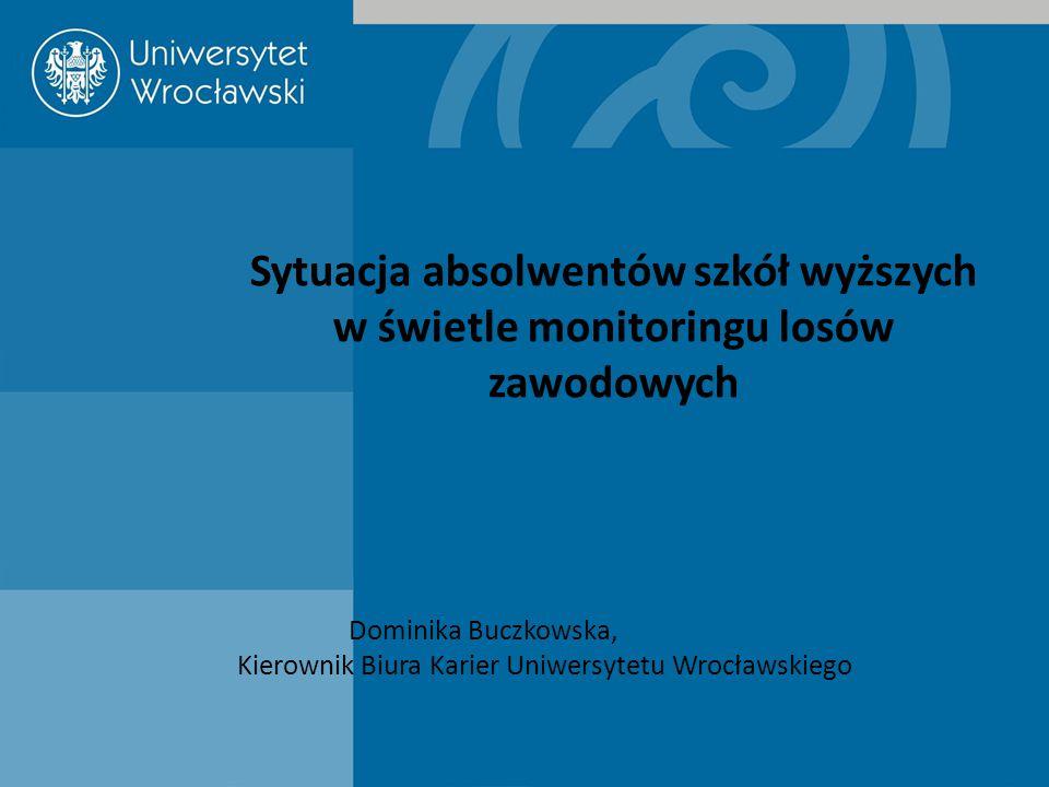 Sytuacja absolwentów szkół wyższych w świetle monitoringu losów zawodowych Dominika Buczkowska, Kierownik Biura Karier Uniwersytetu Wrocławskiego