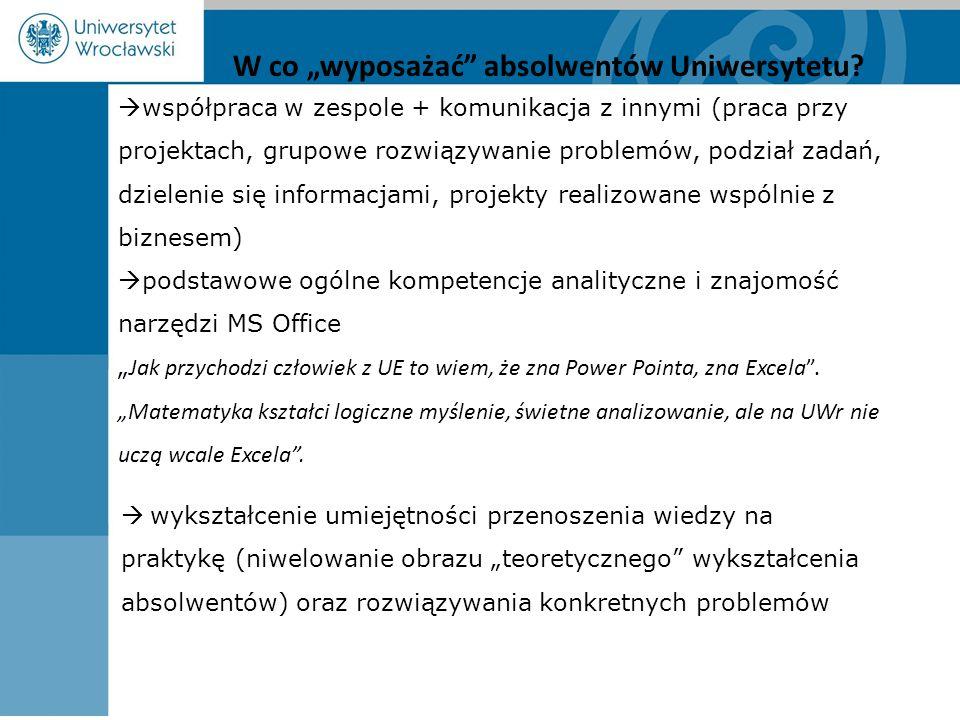 """ współpraca w zespole + komunikacja z innymi (praca przy projektach, grupowe rozwiązywanie problemów, podział zadań, dzielenie się informacjami, projekty realizowane wspólnie z biznesem)  podstawowe ogólne kompetencje analityczne i znajomość narzędzi MS Office """" Jak przychodzi człowiek z UE to wiem, że zna Power Pointa, zna Excela ."""