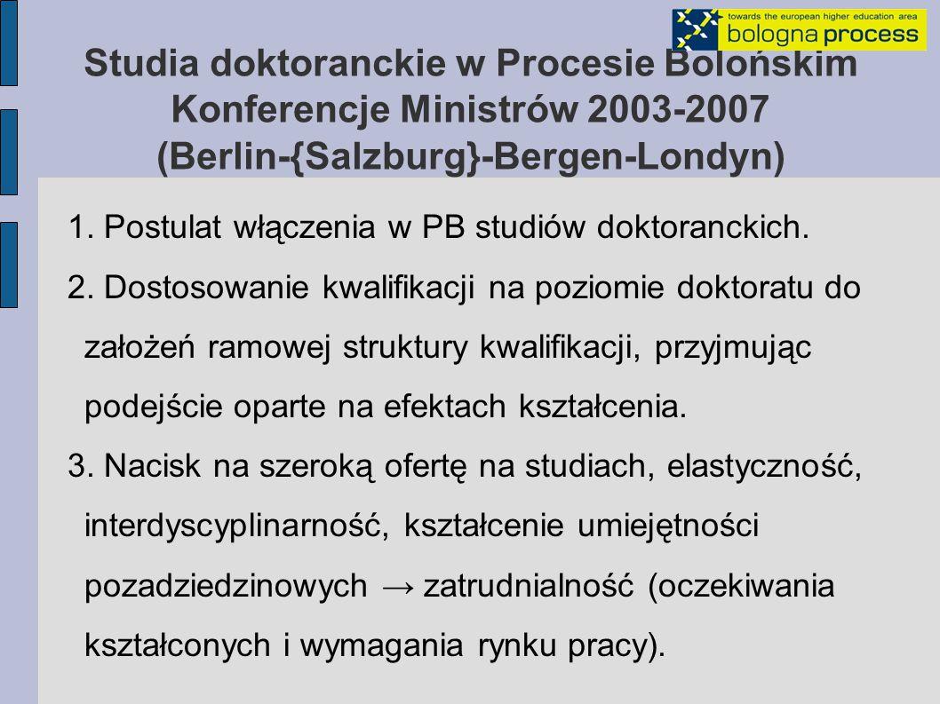 Studia doktoranckie w Procesie Bolońskim Konferencje Ministrów 2003-2007 (Berlin-{Salzburg}-Bergen-Londyn) 1.