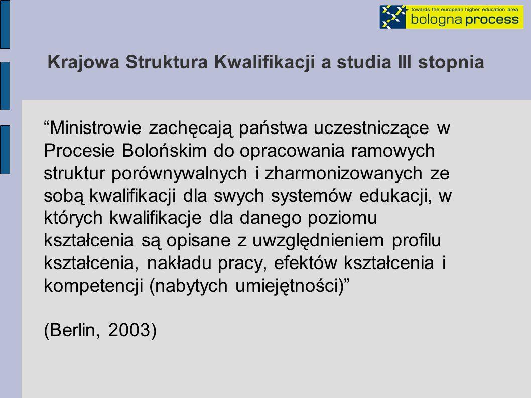 Krajowa Struktura Kwalifikacji a studia III stopnia Opis krajowego systemu edukacji, który: - jest zrozumiały w EOSW - definiuje uzyskane kwalifikacje (np.