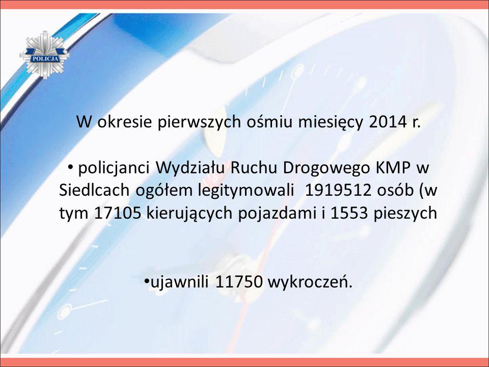 W okresie pierwszych ośmiu miesięcy 2014 r. policjanci Wydziału Ruchu Drogowego KMP w Siedlcach ogółem legitymowali 1919512 osób (w tym 17105 kierując