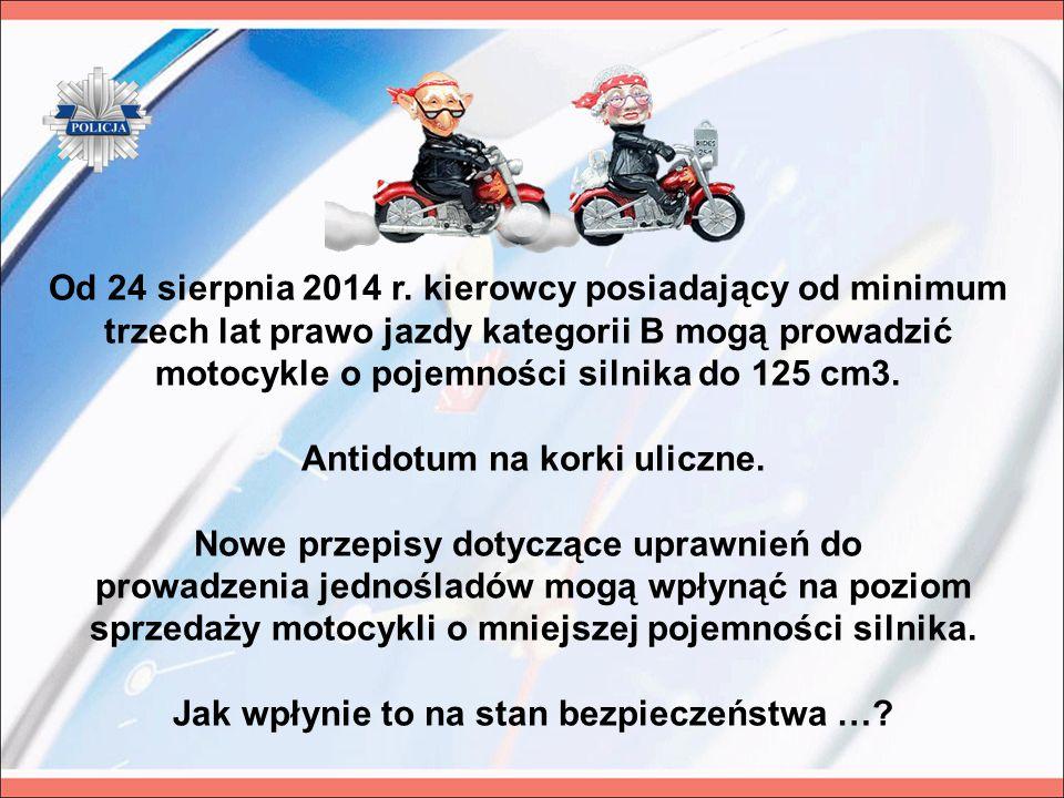 Od 24 sierpnia 2014 r. kierowcy posiadający od minimum trzech lat prawo jazdy kategorii B mogą prowadzić motocykle o pojemności silnika do 125 cm3. An