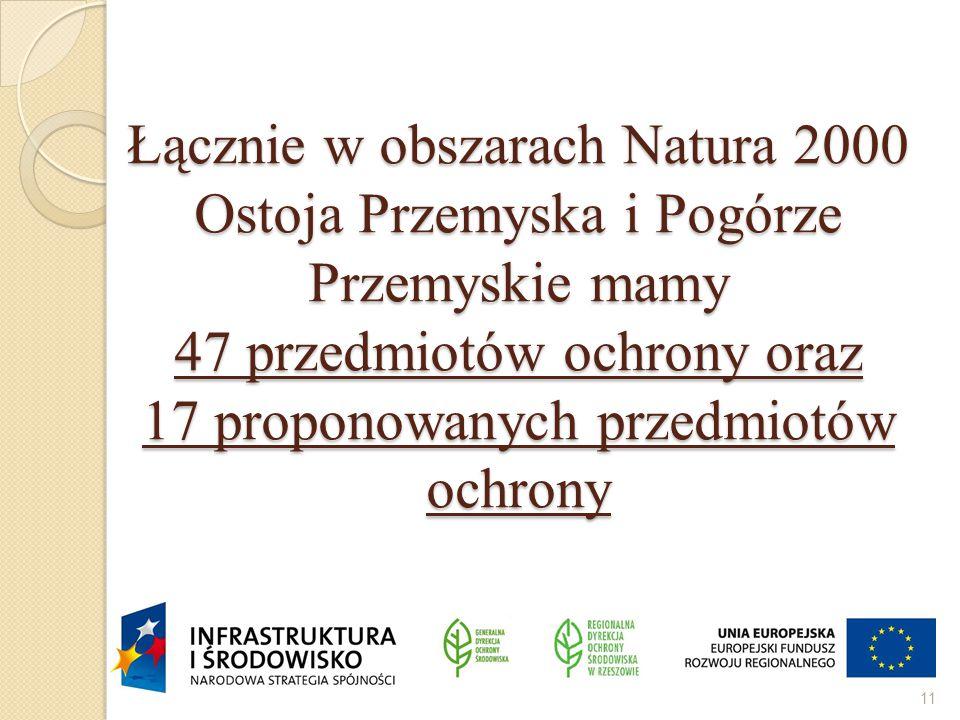 Łącznie w obszarach Natura 2000 Ostoja Przemyska i Pogórze Przemyskie mamy 47 przedmiotów ochrony oraz 17 proponowanych przedmiotów ochrony 11