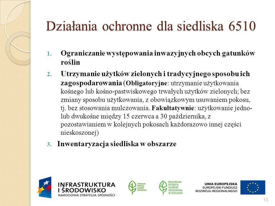 Działania ochronne dla siedliska 6510 1. Ograniczanie występowania inwazyjnych obcych gatunków roślin 2. Utrzymanie użytków zielonych i tradycyjnego s