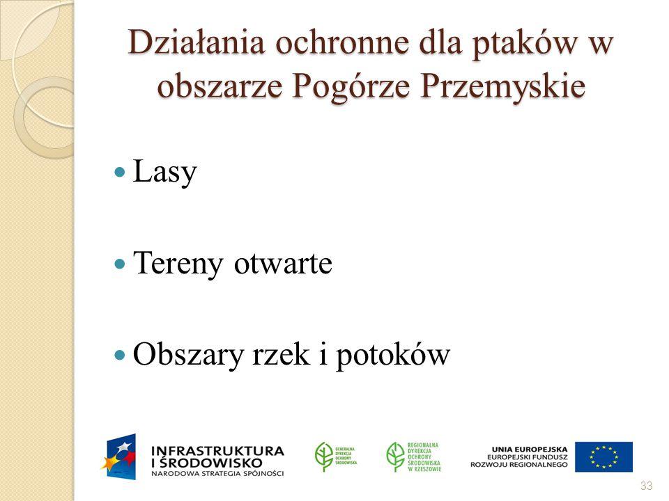 Działania ochronne dla ptaków w obszarze Pogórze Przemyskie Lasy Tereny otwarte Obszary rzek i potoków 33