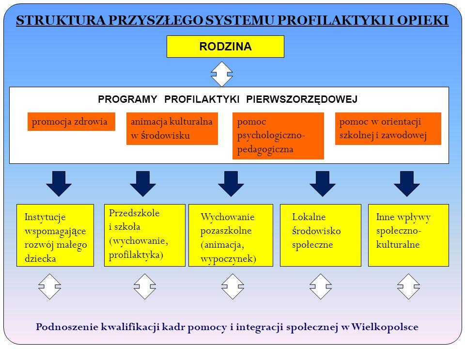 STRUKTURA PRZYSZŁEGO SYSTEMU PROFILAKTYKI I OPIEKI RODZINA PROGRAMY PROFILAKTYKI PIERWSZORZĘDOWEJ promocja zdrowiaanimacja kulturalna w ś rodowisku pomoc psychologiczno- pedagogiczna pomoc w orientacji szkolnej i zawodowej Instytucje wspomagaj ą ce rozwój małego dziecka Przedszkole i szkoła (wychowanie, profilaktyka) Wychowanie pozaszkolne (animacja, wypoczynek) Inne wpływy społeczno- kulturalne Lokalne ś rodowisko społeczne