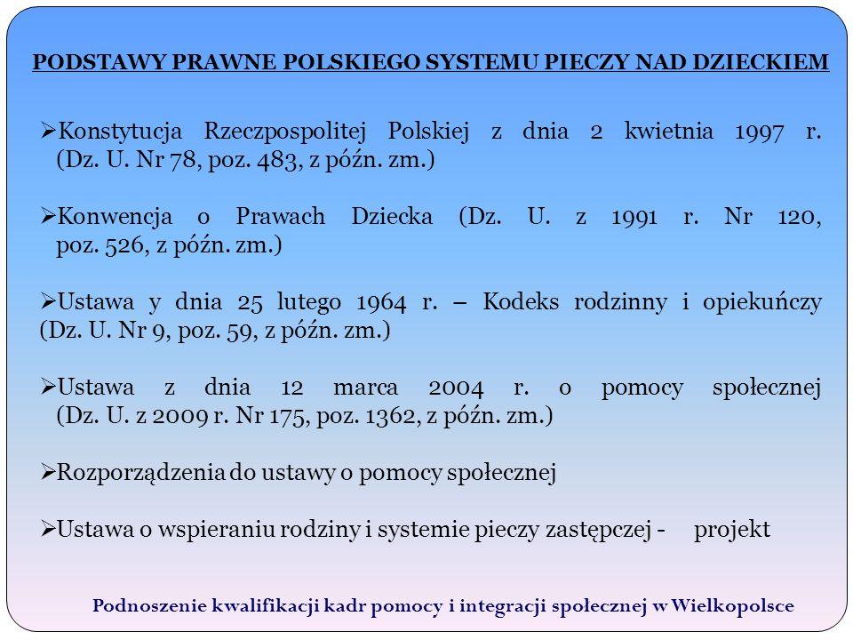 PODSTAWY PRAWNE POLSKIEGO SYSTEMU PIECZY NAD DZIECKIEM Podnoszenie kwalifikacji kadr pomocy i integracji społecznej w Wielkopolsce  Konstytucja Rzeczpospolitej Polskiej z dnia 2 kwietnia 1997 r.