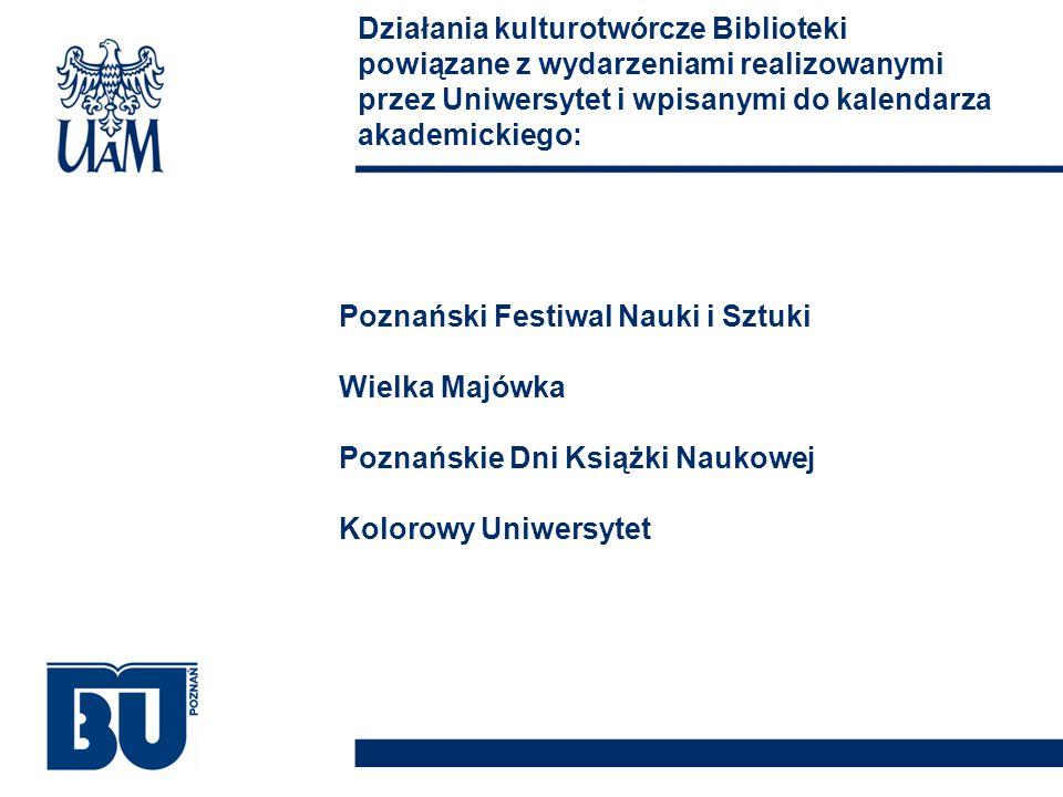 Poznański Festiwal Nauki i Sztuki Wielka Majówka Poznańskie Dni Książki Naukowej Kolorowy Uniwersytet Działania kulturotwórcze Biblioteki powiązane z wydarzeniami realizowanymi przez Uniwersytet i wpisanymi do kalendarza akademickiego: