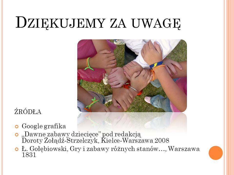 """ŹRÓDŁA Google grafika """"Dawne zabawy dziecięce"""" pod redakcją Doroty Żołądź-Strzelczyk, Kielce-Warszawa 2008 Ł. Gołębiowski, Gry i zabawy różnych stanów"""