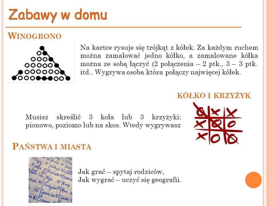 Na kartce rysuje się trójkąt z kółek. Za każdym ruchem można zamalować jedno kółko, a zamalowane kółka można ze sobą łączyć (2 połączenia – 2 ptk., 3