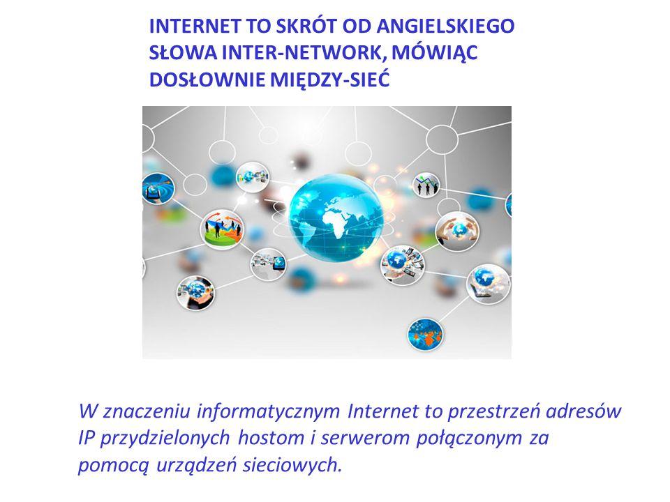 INTERNET TO SKRÓT OD ANGIELSKIEGO SŁOWA INTER-NETWORK, MÓWIĄC DOSŁOWNIE MIĘDZY-SIEĆ W znaczeniu informatycznym Internet to przestrzeń adresów IP przyd