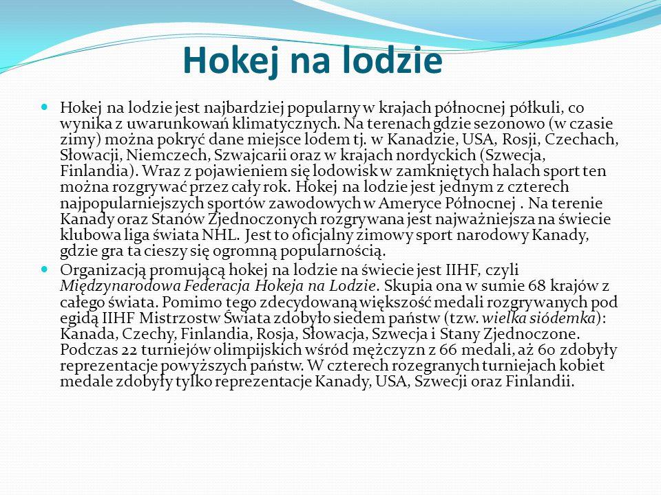 Hokej na lodzie Hokej na lodzie jest najbardziej popularny w krajach północnej półkuli, co wynika z uwarunkowań klimatycznych. Na terenach gdzie sezon