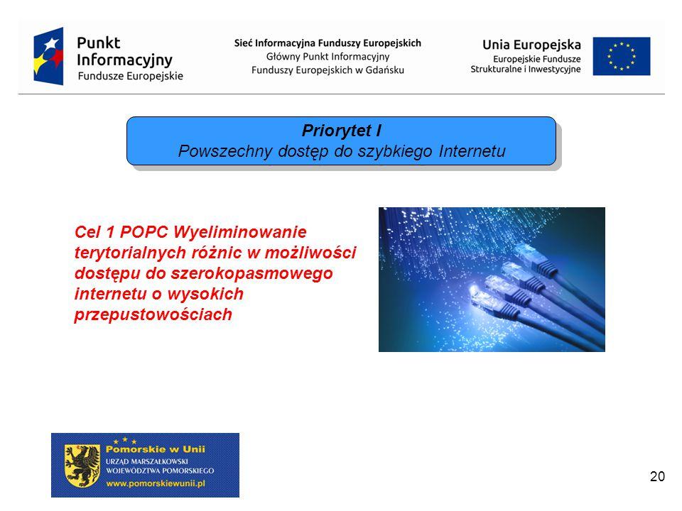 20 Priorytet I Powszechny dostęp do szybkiego Internetu Priorytet I Powszechny dostęp do szybkiego Internetu Cel 1 POPC Wyeliminowanie terytorialnych różnic w możliwości dostępu do szerokopasmowego internetu o wysokich przepustowościach