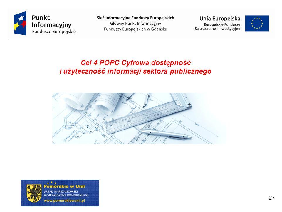 27 Cel 4 POPC Cyfrowa dostępność i użyteczność informacji sektora publicznego