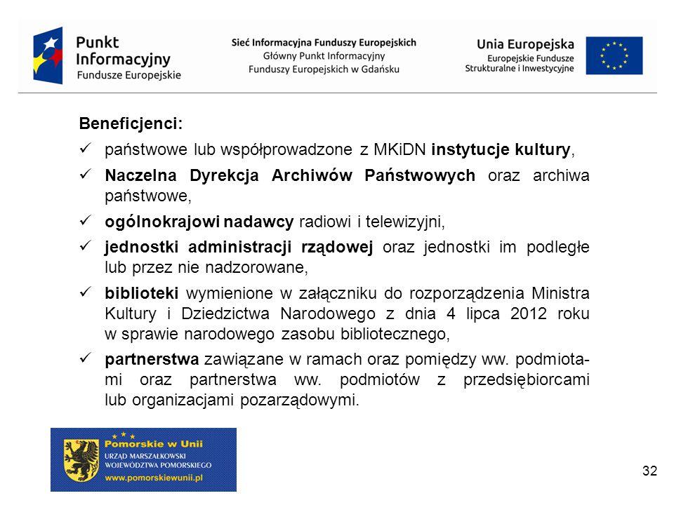 32 Beneficjenci: państwowe lub współprowadzone z MKiDN instytucje kultury, Naczelna Dyrekcja Archiwów Państwowych oraz archiwa państwowe, ogólnokrajowi nadawcy radiowi i telewizyjni, jednostki administracji rządowej oraz jednostki im podległe lub przez nie nadzorowane, biblioteki wymienione w załączniku do rozporządzenia Ministra Kultury i Dziedzictwa Narodowego z dnia 4 lipca 2012 roku w sprawie narodowego zasobu bibliotecznego, partnerstwa zawiązane w ramach oraz pomiędzy ww.