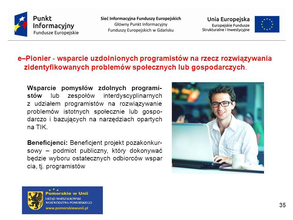 35 Wsparcie pomysłów zdolnych programi- stów lub zespołów interdyscyplinarnych z udziałem programistów na rozwiązywanie problemów istotnych społecznie lub gospo- darczo i bazujących na narzędziach opartych na TIK.