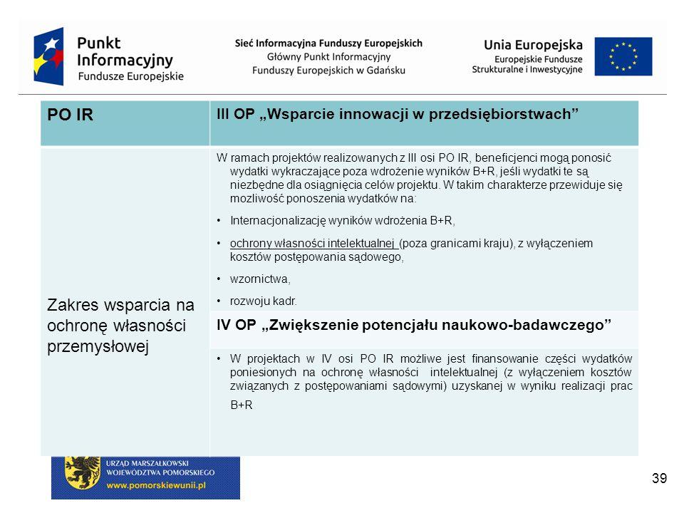 """39 PO IR III OP """"Wsparcie innowacji w przedsiębiorstwach Zakres wsparcia na ochronę własności przemysłowej W ramach projektów realizowanych z III osi PO IR, beneficjenci mogą ponosić wydatki wykraczające poza wdrożenie wyników B+R, jeśli wydatki te są niezbędne dla osiągnięcia celów projektu."""