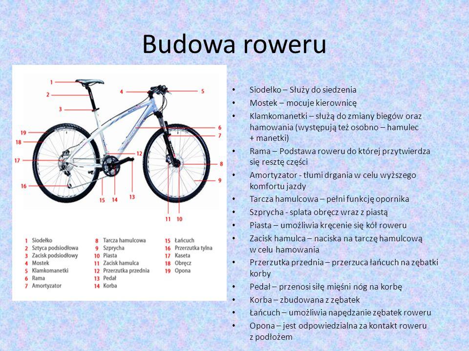 Budowa roweru Siodełko – Służy do siedzenia Mostek – mocuje kierownicę Klamkomanetki – służą do zmiany biegów oraz hamowania (występują też osobno – h
