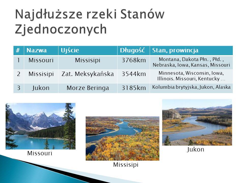 #NazwaUjścieDługośćStan, prowincja 1MissouriMissisipi3768km Montana, Dakota Płn., Płd., Nebraska, Iowa, Kansas, Missouri 2MissisipiZat.