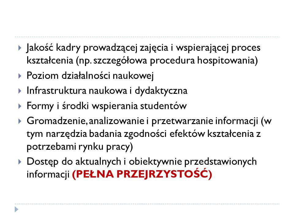  Jakość kadry prowadzącej zajęcia i wspierającej proces kształcenia (np.