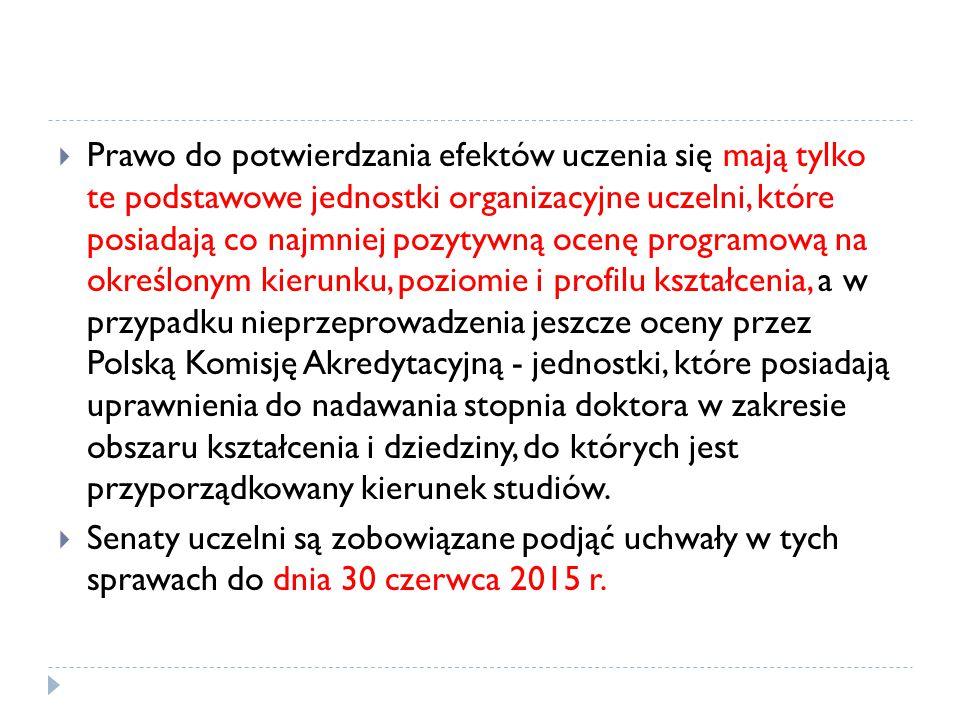 Prawo do potwierdzania efektów uczenia się mają tylko te podstawowe jednostki organizacyjne uczelni, które posiadają co najmniej pozytywną ocenę programową na określonym kierunku, poziomie i profilu kształcenia, a w przypadku nieprzeprowadzenia jeszcze oceny przez Polską Komisję Akredytacyjną - jednostki, które posiadają uprawnienia do nadawania stopnia doktora w zakresie obszaru kształcenia i dziedziny, do których jest przyporządkowany kierunek studiów.