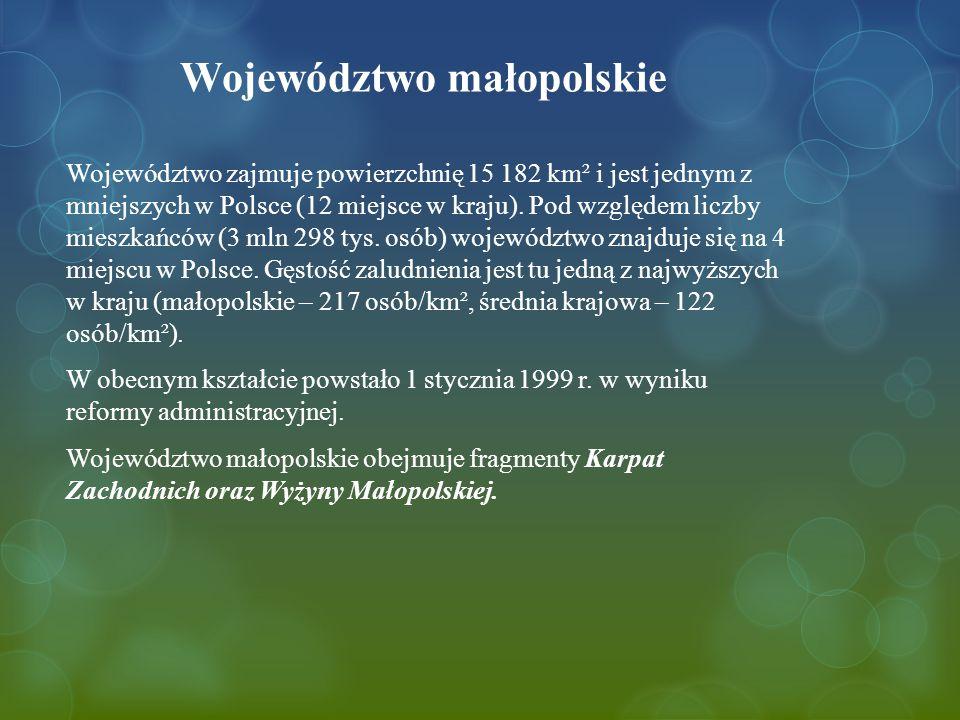 Województwo małopolskie Województwo zajmuje powierzchnię 15 182 km² i jest jednym z mniejszych w Polsce (12 miejsce w kraju).