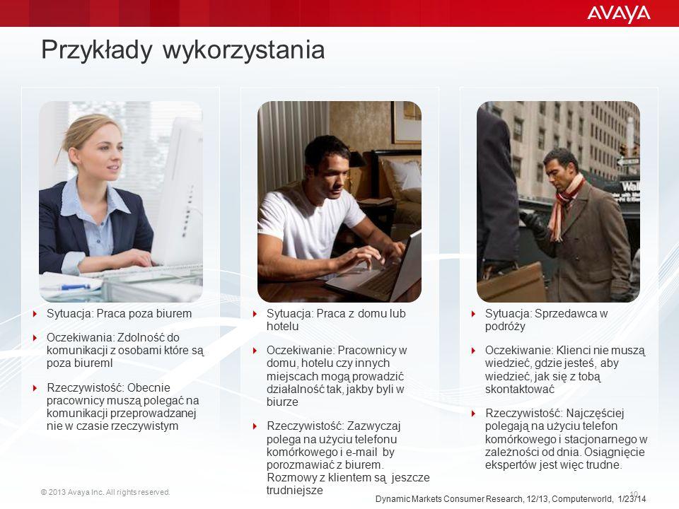 © 2013 Avaya Inc. All rights reserved. 10 Przykłady wykorzystania Dynamic Markets Consumer Research, 12/13, Computerworld, 1/23/14  Sytuacja: Praca z