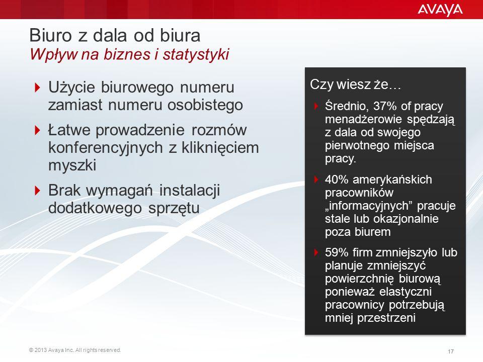 © 2013 Avaya Inc. All rights reserved. 17 Biuro z dala od biura Wpływ na biznes i statystyki  Użycie biurowego numeru zamiast numeru osobistego  Łat